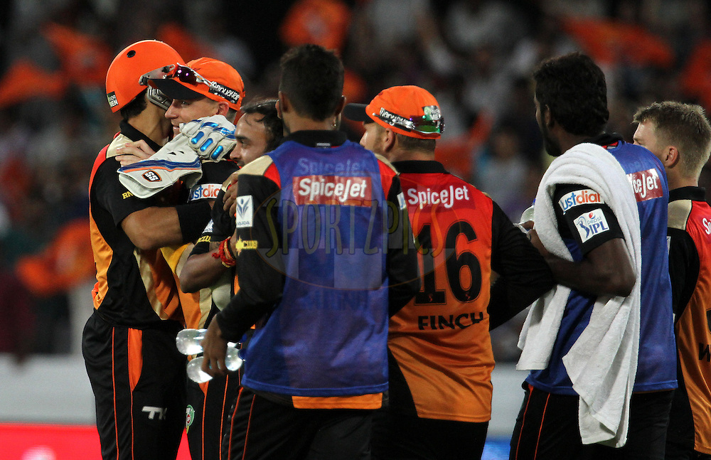 Sunrisers Hyderabad players celebrates the wicket of Glenn Maxwell of the Kings X1 Punjab, but was not give out due to a no ball bowled by Amit Mishra of the Sunrisers Hyderabad during match 39 of the Pepsi Indian Premier League Season 2014 between the Sunrisers Hyderabad and the Kings XI Punjab held at the Rajiv Gandhi Cricket Stadium, Hyderabad, India on the 14th May  2014<br /> <br /> Photo by Vipin Pawar / IPL / SPORTZPICS<br /> <br /> <br /> <br /> Image use subject to terms and conditions which can be found here:  http://sportzpics.photoshelter.com/gallery/Pepsi-IPL-Image-terms-and-conditions/G00004VW1IVJ.gB0/C0000TScjhBM6ikg