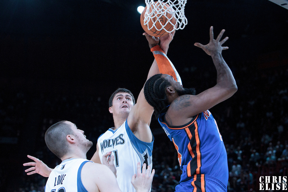 06 October 2010: New York Knicks center Ronny Turiaf #14 is blocked by Minnesota Timberwolves center Darko Milicic during the Minnesota Timberwolves 106-100 victory over the New York Knicks, during 2010 NBA Europe Live, at the POPB Arena in Paris, France.