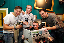 Friday, 15th March 2013: Thomas Johnson, Peter Nichhart, Klaus Muller and Ronny Jank from Germany pictured enjoying the St. Patrick's Festival at.the Guinness Storehouse which kicked off today with a host of entertainment on offer. For more.details and festival tickets, log on to www.guinness-storehouse.com or follow them on Twitter.@homeofguinness. Picture Andres Poveda