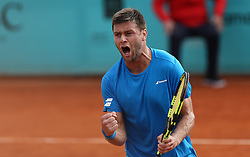 May 8, 2018 - Madrid, Spain - Ryan Harrison of USA celebrates at match point as he defeats to Guillermo García López of Spain in the 2nd Round match during day four of the Mutua Madrid Open tennis tournament at the Caja Magica. (Credit Image: © Manu Reino/SOPA Images via ZUMA Wire)