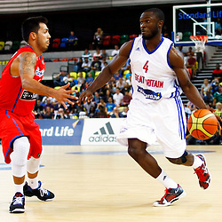 GB men vs Puerto Rico basketball at the Copper Box Arena. Ogo Adegboye (04) on offence. 11/08/2013 (c) MATT BRISTOW