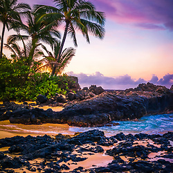 Secret Beach Makena Cove Maui Hawaii sunrise photo. Also known as Wedding Beach and Pa'ako Cove, Secrets Beach is a popular beach in Wailea Kihei Hawaii. Copyright ⓒ 2019 Paul Velgos with All Rights Reserved.