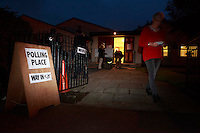 A member of the public leaving the St Gregory's church hall after hung her vote.<br /> 18th September 2014 polling vote for Scotland independence. Pako Mera/Universal News And Sport (Europe) 18/09/2014
