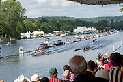 Henley on Thames, England, United Kingdom, Sunday, 07.07.19, Roeivereeniging Studenten Vreie Universiteit Okeanos, Netherlands, NED<br /> lead<br /> Thames Rowing Club A, passing the Enclosures, in the Final, of the Thames Challenge Cup, Henley Royal Regatta,  Henley Reach, [©Karon PHILLIPS/Intersport Images]<br /> <br /> 16:06:19 1919 - 2019, Royal Henley Peace Regatta Centenary,