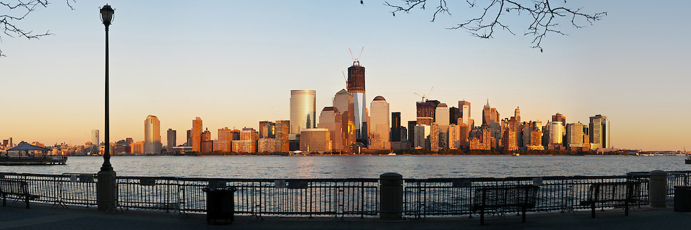 New York Skyline at Sunset. 3 to 1 aspect Panorama