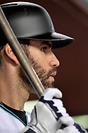 Sep 8, 2017; Phoenix, AZ, USA; Arizona Diamondbacks outfielder J.D. Martinez (28) watches the game against the San Diego Padres from the dugout at Chase Field. Mandatory Credit: Jennifer Stewart-USA TODAY Sports
