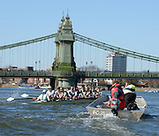 London, United kingdom. Both Crews approaching Hammersmith Bridge. Pre 2014 Varsity Boat Race Fixture, Cambridge University BC vs Molesey Boat Club, over the Championship Course; Putney to Mortlake, River Thames, Greater London on Sunday  16/03/2014 [Mandatory Credit: Peter Spurrier/Intersport Images]<br /> <br /> CAMBRIDGE; Bow: Michael THORP, 2: Luke JUCKETT,  3: Ivo DAWKINS, 4: Steve DUDEK, 5: Helge GRUETJEN, 6: Matthew JACKSON, 7: Joshua HOOPER, Stroke: Henry HOFFSTOT, Cox: Ian MIDDLETON<br /> <br /> MOLESEY BC; Bow: Sam SCRIMEGOUR, 2: Pete ROBINSON, 3: Matt TARRANT, 4: Fred GILL , 5: Mo SBIHI,  6: Phil CONGDON, 7: George NASH, Stroke: James FOAD, Cox: Henry FIELDMAN