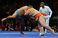 Fighters wrestle in the World Sumo Challenge October 22, 2005 at New York's Madison Square Garden. PHOTO BY KEITH BEDFORD