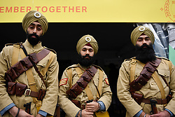 © Licensed to London News Pictures. 28/04/2018. LONDON, UK.  Volunteers from the National Army Museum in historic uniforms dressed as the 15th Sikh Ludhiana Regiment from World War 1 during the festival of Vaisakhi in Trafalgar Square, hosted by the Mayor of London.  For Sikhs and Punjabis, the festival celebrates the spring harvest and commemorates the founding of the Khalsa community over 300 years ago.  Photo credit: Stephen Chung/LNP