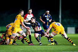 Jono Kitto of Worcester Cavaliers takes on Will Wilson and Tom Willis of Wasps A - Mandatory by-line: Robbie Stephenson/JMP - 16/12/2019 - RUGBY - Sixways Stadium - Worcester, England - Worcester Cavaliers v Wasps A - Premiership Rugby Shield