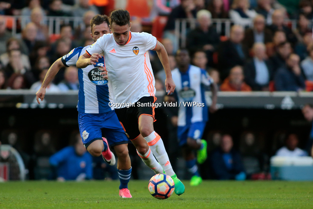 Valencia CF vs Deportivo La Coruña - La Liga MAtchday 29 - Estadio Mestalla, in action during g the game -- Munir Al Haddadi striker for Valencia CF drives the ball