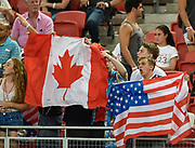 Canadian and USA fans during the HSBC World Rugby Sevens Series, Singapore, Cup Final match USA -V- Canada  at The National Stadium, Singapore on Sunday, April 16, 2017. (Steve Flynn/Image of Sport)