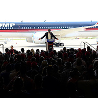 Republican candidate Donald Trump  speaks at a rally at Atlantic Aviation in Moon Township, Pennsylvania near Pittsburgh on June 11, 2016.   Photo by Archie Carpenter/UPI