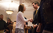 President Thayne McCulloh greets a student at the Social Justice Missioning Ceremony. Photo by Libby Kamrowski