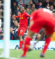 LONDON, ENGLAND - Sunday, May 12, 2013: Liverpool's Daniel Sturridge celebrates scoring the first goal against Fulham during the Premiership match at Craven Cottage. (Pic by David Rawcliffe/Propaganda)