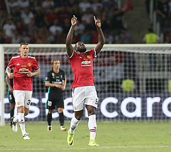 August 8, 2017 - Skopje, Macedonia - Romelu Lukaku of Manchester United celebrates scoring their first goal during the UEFA Super Cup match between Real Madrid and Manchester United at Philip II Arena on August 8, 2017 in Skopje, Macedonia. (Credit Image: © Raddad Jebarah/NurPhoto via ZUMA Press)
