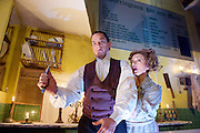 Sweeney Todd<br /> by Tooting Arts Club <br /> at Harrington's Pie &amp; Mash Shop, London, Great Britain <br /> press photocall <br /> 16th March 2015 <br /> <br /> Siobhan McCarthy as Mrs Lovett <br /> <br /> Jeremy Secomb as Sweeney Todd<br /> <br /> <br /> <br /> Photograph by Elliott Franks <br /> Image licensed to Elliott Franks Photography Services