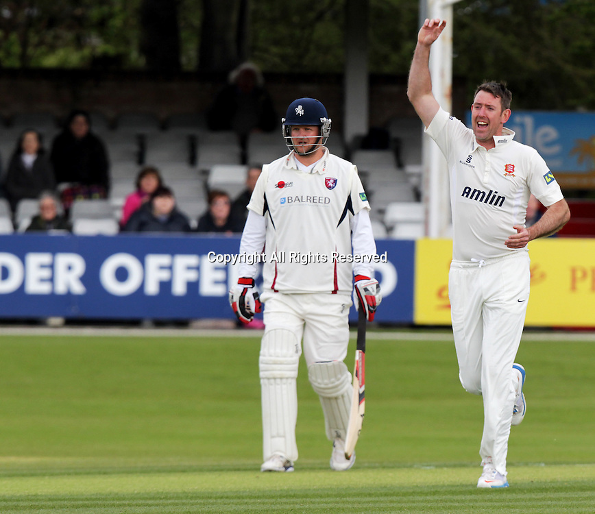 19.04.2015 Chelmsford, Essex. LV County Championship - David Masters appeals for the wicket of Daniel Bell-Drummond -  Essex CCC versus Kent CCC.  Action at the Essex County Ground, Chelmsford, Essex.