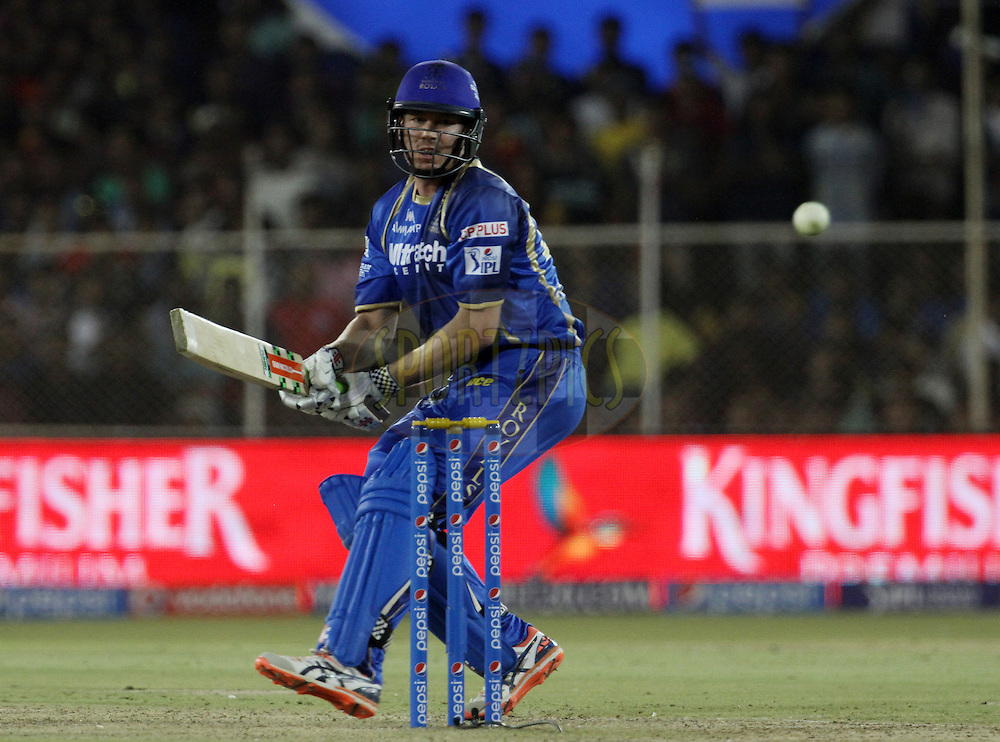 Rajasthan Royals player James Faulkner plays a shot during match 22 of the Pepsi IPL 2015 (Indian Premier League) between The Rajasthan Royals and The Royal Challengers Bangalore held at the Sardar Patel Stadium in Ahmedabad , India on the 24th April 2015.<br /> <br /> Photo by:  Vipin Pawar / SPORTZPICS / IPL