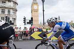 Alicia Arzuffi (ITA) of Lensworld Zannata Cycling Team leans into the corner leading onto Whitehall during the Prudential RideLondon Classique, a 66 km road race in London on July 30, 2016 in the United Kingdom.