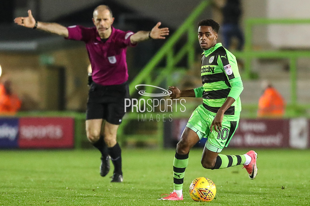 Forest Green Rovers Reece Brown(10) runs forward during the EFL Trophy match between Forest Green Rovers and U21 Swansea City at the New Lawn, Forest Green, United Kingdom on 31 October 2017. Photo by Shane Healey.