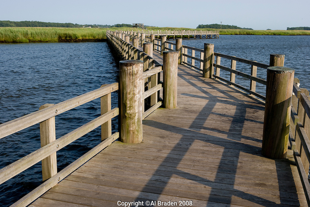 Saltwater marshes and walkway along the Connecticut River at Great Island, Old Lyme, CT