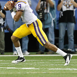 Dec 3, 2011; Atlanta, GA, USA; LSU Tigers quarterback Jordan Jefferson (9) against the Georgia Bulldogs during the first half of the 2011 SEC championship game at the Georgia Dome.  Mandatory Credit: Derick E. Hingle-US PRESSWIRE