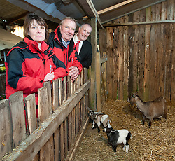 Pictured is, from left, Rand Farm Park owners Kay and Richard Waring and Clydesdale Bank commercial relationship manager Michael Pickles with a new born goats<br /> <br /> Clydesdale Bank - Rand Farm Park<br /> <br /> March 27, 2015