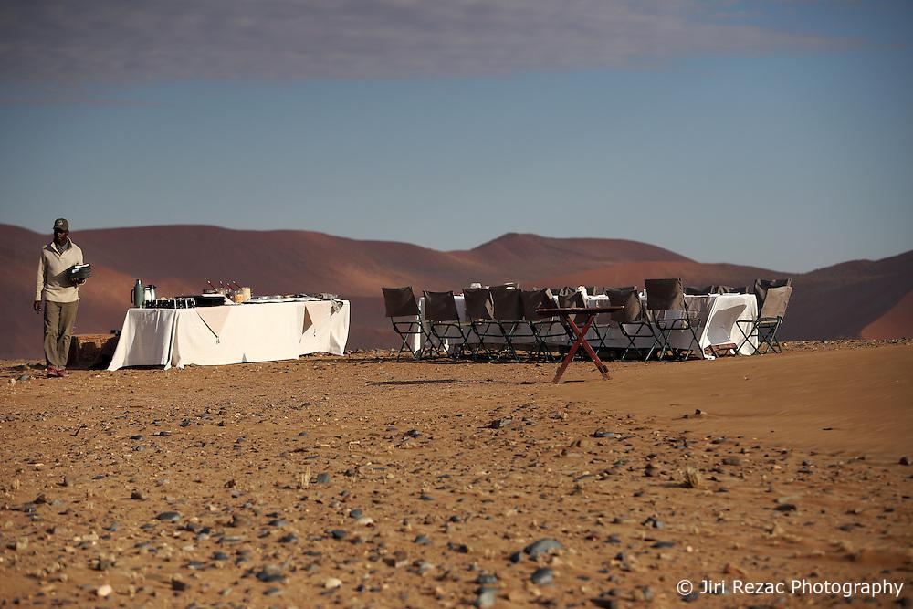NAMIBIA SOSSUSVLEI 21APR14 - Breakfast in the desert after a balloon flight with Namib Sky Balloon Safaris in Sossusvlei, Namib Desert, Namibia.<br /> <br /> jre/Photo by Jiri Rezac<br /> <br /> &copy; Jiri Rezac 2014