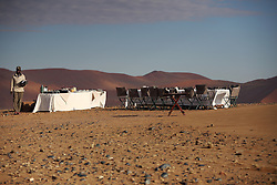 NAMIBIA SOSSUSVLEI 21APR14 - Breakfast in the desert after a balloon flight with Namib Sky Balloon Safaris in Sossusvlei, Namib Desert, Namibia.<br /> <br /> jre/Photo by Jiri Rezac<br /> <br /> © Jiri Rezac 2014