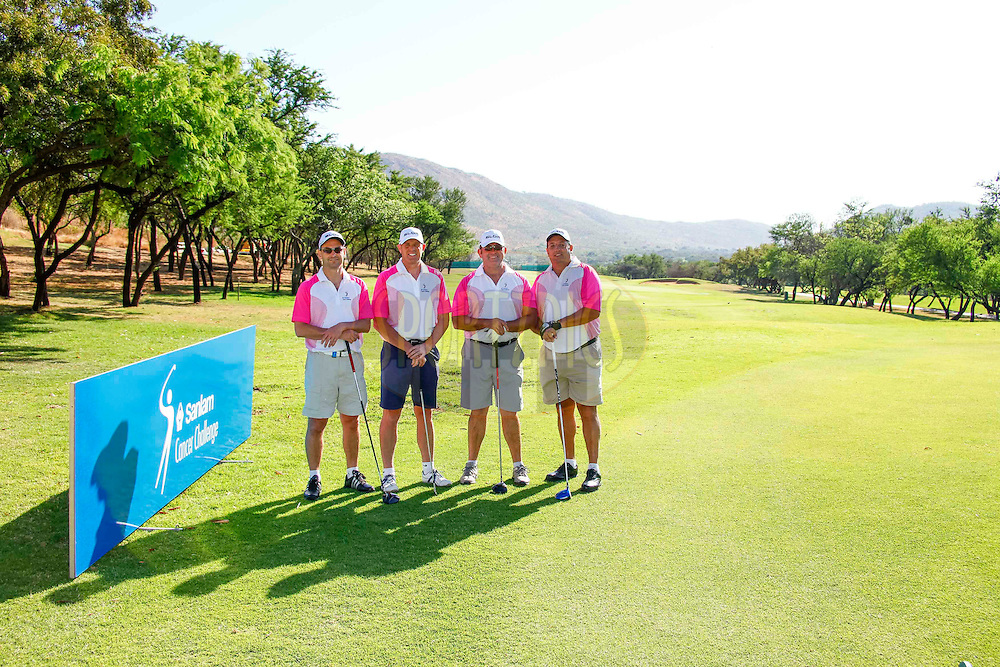 J Lombard, D de Villiers, J Coetzer, W Lotriet during the delegates first round of the Sanlam Cancer Challenge Finals 2014 held at the Gary Player Country Club in Sun City near Johannesburg, South Africa on the 19th October 2014<br /> <br /> Photo by:  Maritz/ SPORTZPICS
