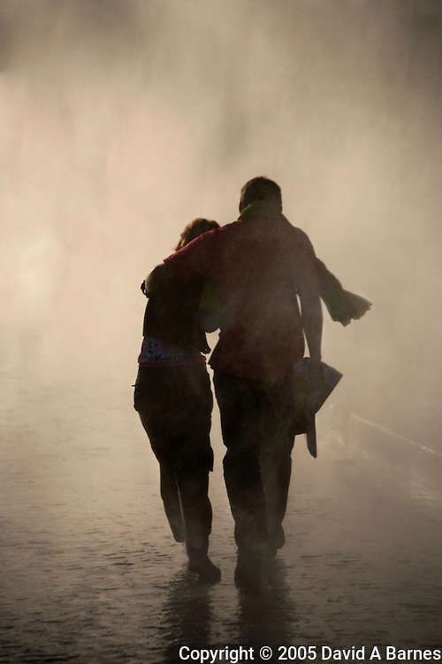 Couple walking in the rain, Paris, France.(NO MODEL RELEASE)