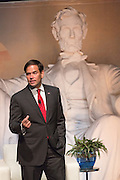 Senator and GOP presidential candidate Marco Rubio attends Tim's Presidential Town Hall meeting at the Performing Arts Center August 7, 2015 in North Charleston, SC. The event showcases republican candidates in a town hall style meetings hosted by Sen. Tim Scott and Rep. Trey Gowdy.