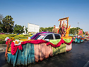 19 APRIl 2014 - BANGKOK, THAILAND:  A float honoring Rama I, Phraphutthayotfa Chulalok, born Thong Duang, the first King and founder of the Chakri Dynasty at the Rattanakosin Festival in Bangkok. Rattanakosin is the name of the man made island that is the heart of the old city. Rama I founded Bangkok as the capital of Siam (now Thailand) on 21 April 1782 by King Rama I, founder of the Chakri Dynasty. Bhumibol Adulyadej, the current King of Thailand, is Rama IX, the ninth King of the Chakri Dynasty. The Thai Ministry of Culture organized the Rattanakosin Festival on Sanam Luang, the royal parade ground in the heart of the old part of Bangkok, to celebrate the city's 232nd anniversary.   PHOTO BY JACK KURTZ