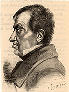 Andre-Marie Ampere (1775-1836) French mathematician and physicist who established the relationship of electricity and magnetism. Engraving from 'Les Nouvelles Conquetes de la Science' by Louis Figuier (Paris, 1883).