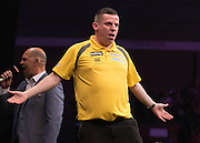Dave Chisnall in the Michael van Gerwen v Dave Chisnall match  at the Betway Premier League Darts,  Brighton Centre, Brighton & Hove, United Kingdom on 14 May 2015. Photo by Phil Duncan.