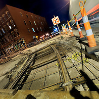 Track laying underway at Third & Delaware Streets in Kansas City's River Market area during the construction process for downtown KC's new streetcar line.