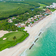 Aerial view of the Fairmont Mayakoba. Riviera Maya and golg course. Quintana Roo. Mexico.
