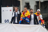 Gareth Bale, Lucas Vazquez and Isco during the celebration of the victory of the Real Madrid Champions League at Plaza de Cibeles in Madrid. May 28. 2016. (ALTERPHOTOS/Borja B.Hojas)