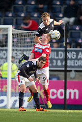 Falkirk's Peter Grant over Brechin City&rsquo;s Andy Jackson with Falkirk's Luke Leahy. <br /> Falkirk 2 v 1 Brechin City, Scottish Cup fifth round game played today at The Falkirk Stadium.