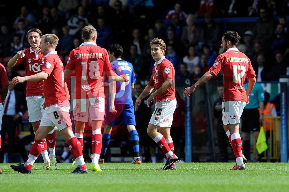 Bristol City's Luke Freeman celebrates with his team mates after scoring. - Photo mandatory by-line: Dougie Allward/JMP - Mobile: 07966 386802 23/08/2014 - SPORT - FOOTBALL - Manchester - Spotland Stadium - Rochdale AFC v Bristol City - Sky Bet League One