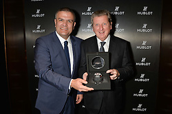 On 25th April 2014 in London at the Hublot Boutique in New Bond Street, Ricardo Guadalupe, CEO of Hublot, presented Roy Hodgson, the Manager of the England National football team, with a watch that has been created and named in his honour. The Hublot King Power 66 Hodgson is a Limited Edition of 66 pieces to commemorate the year that England won the World Cup. The idea was hatched from Roy's son Christopher who also collaborated with Hublot on the design of this amazing piece. The presentation was followed by a tour and a dinner at the House of Commons that was attended by Hublot VIP customers.<br /> <br /> PICTURE SHOWS:- Ricardo Guadalupe, CEO of Hublot and Roy Hodgson, the Manager of the England National football team.