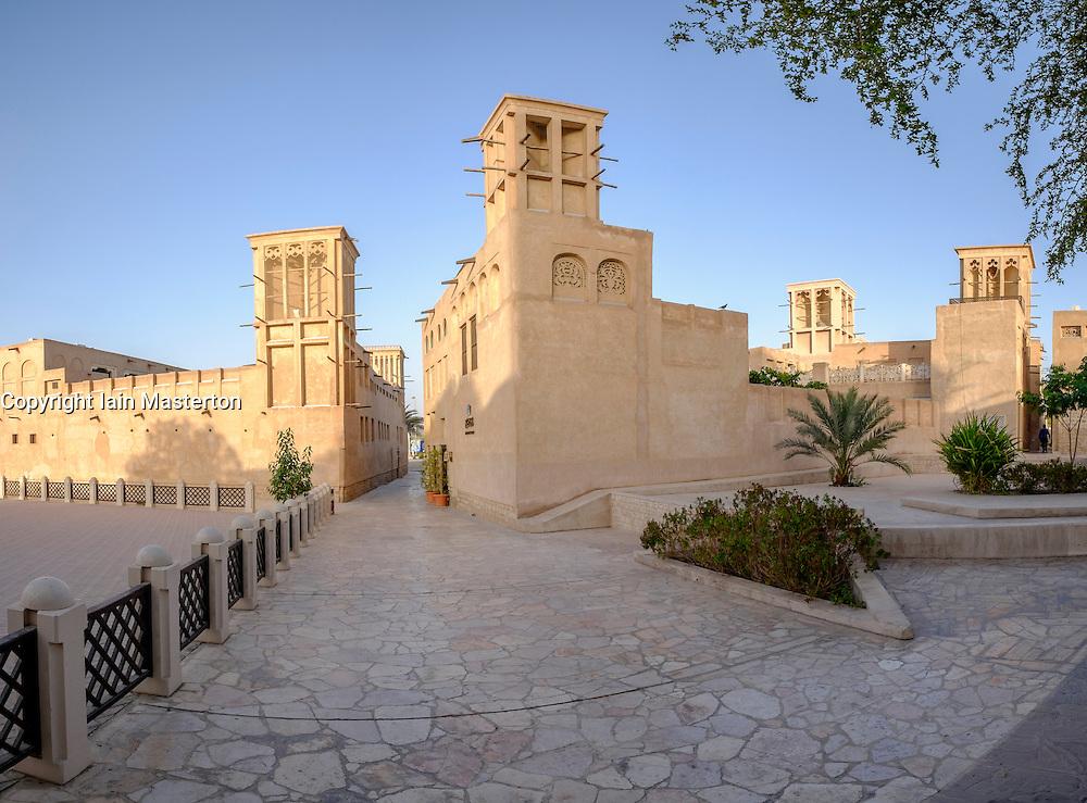 Historic district of Bastakiya in old town of Dubai United Arab Emirates