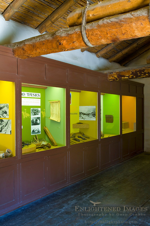 Educational history exhibits at visitor center, La Purisma Mission State Historical Park, near Lompoc, California
