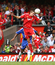 CARDIFF, WALES - SUNDAY, AUGUST 13th, 2006: Liverpool's Daniel Agger in action against Chelsea during the Community Shield match at the Millennium Stadium. (Pic by David Rawcliffe/Propaganda)