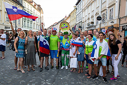 Supporters of Slovenia during reception of Slovenian U20 handball players after winning gold at 2018 EHF U20 Men's European Championship, on July 30, 2018 in Ljubljana, Slovenia. Photo by Urban Urbanc / Sportida