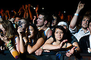 Fans watch Sean Kingston perform during the Sungod Festival at UC San Diego in San Diego, California on May 16, 2008.