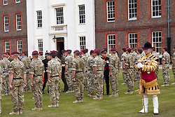 © licensed to London News Pictures. LONDON, UK  02/06/2011. The Princess Royal (not pictured) hands out campaign medals to soldiers from 216 (Parachute) Signal Squadron during a ceremony at Royal Hospital Chelsea watched by friends, family and Chelsea Pensioners. The Squadron recently returned from a 6 month tour of Afghanistan and is responsible for communications links between soldiers and commanders. A thanksgiving service was given in honour of Cpl Steven Dunn who was killed during the tour. Please see special instructions for usage rates. Photo credit should read CLIFF HIDE/LNP