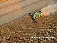 63801-09317 Soybean Harvest, John Deere combine harvesting soybeans - aerial - Marion Co. IL
