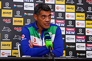 Stephen Kearney at the post-match press conference. Penrith Panthers v Vodafone Warriors. NRL Rugby League. Penrith Stadium, Sydney, Australia. 17th May 2019. Copyright Photo: David Neilson / www.photosport.nz